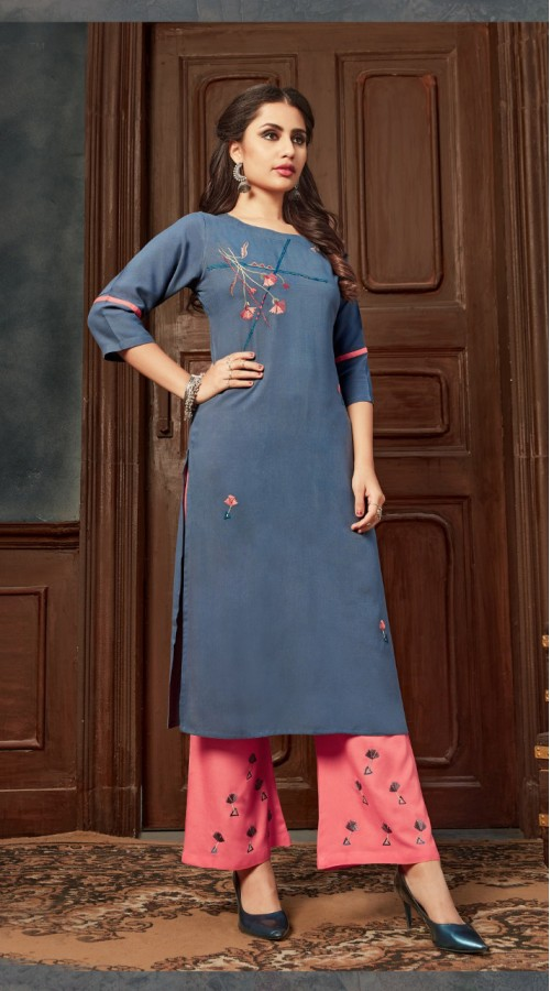 Blue color kurti with Airjet Rayon fabric and Gajari color Plazzo ROT9036107727