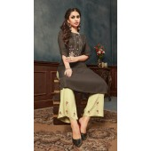 Dark Grey color kurti with Airjet Rayon  fabric and Pista color Plazzo ROT9036107728