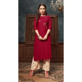 Dark Rose pink color kurti with Airjet Rayon and Cream color Plazzo ROT9036107729