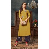 Musterd color kurti with Airjet Rayon fabric and Blue color Plazzo ROT9036107730