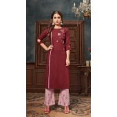 Maroon color kurti with Airjet Rayon fabric and Light pink color Plazzo ROT9036107731
