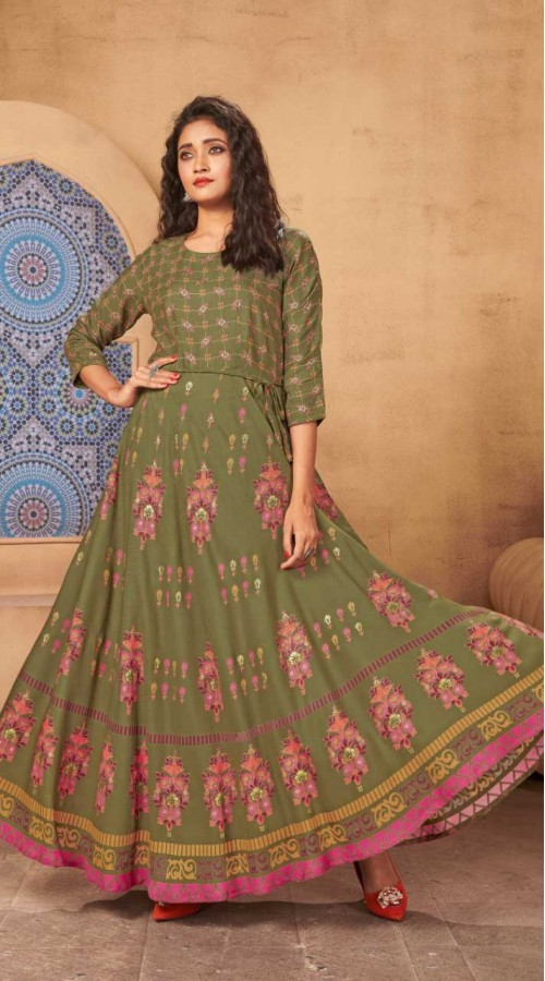 Olive Green color Kurti with Heavy Rayon Fabric with Maxi Long Gown ROT9037107732