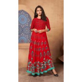 Red Color Kurti Heavy Rayon  Fabric with Maxi Long Gown ROT9037107733