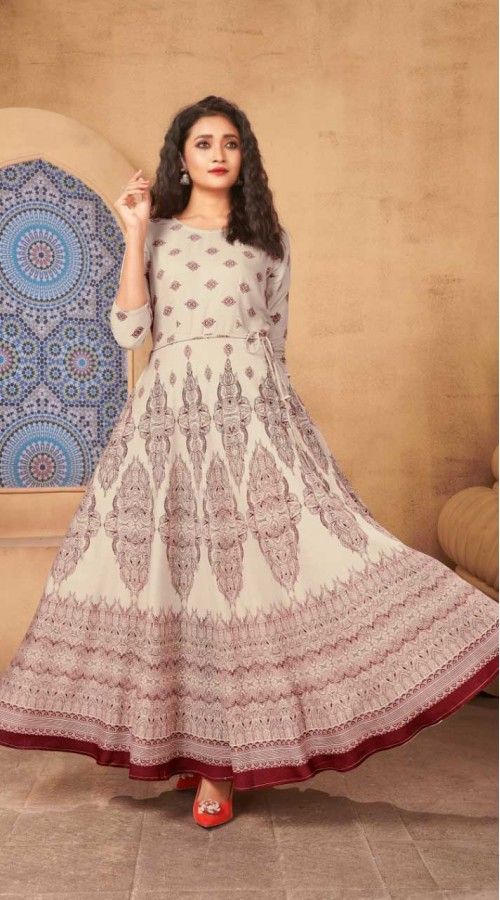 Beige Color Kurti Heavy Rayon  Fabric with Maxi Long Gown ROT9037107734