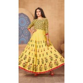 Yellow Color Kurti Heavy Rayon  Fabric with Maxi Long Gown ROT9037107735