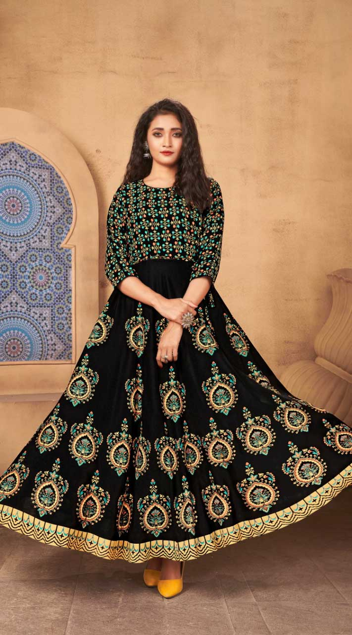 Black Color Kurti Heavy Rayon  Fabric  with Maxi Long Gown ROT9037107736