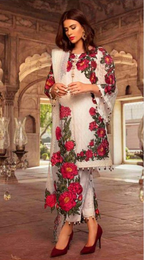 Designer Party Wear Salwar Suit in white color ROT9251109616