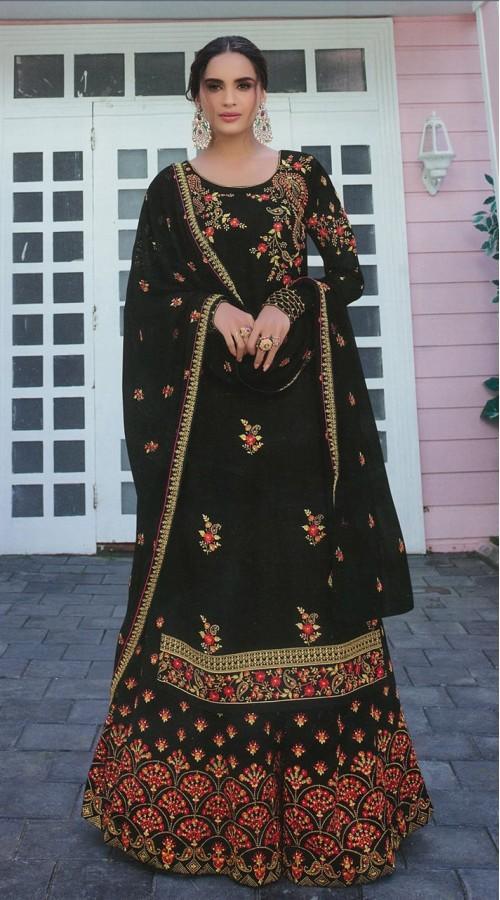 Designer Party Wear Satin Georgette Black color Salwar Suit ROT9252109618