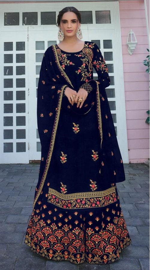 Designer Party Wear Satin Georgette Navy Blue color Salwar Suit ROT9252109619