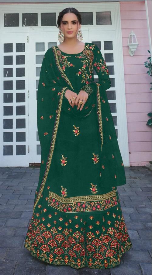Designer Party Wear Satin Georgette Green color Salwar Suit ROT9252109620