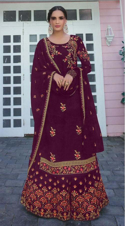 Designer Party Wear Satin Georgette Purple color Salwar Suit ROT9252109621