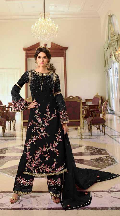 Designer Party Wear black color Georgette Plazzo Suit ROT9254109628