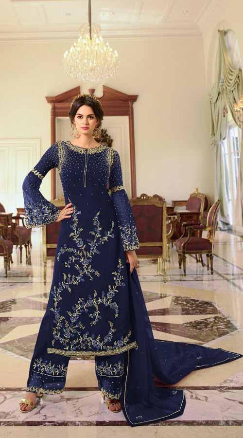 Designer Party Wear Nevy Blue color Georgette Plazzo Suit ROT9254109629