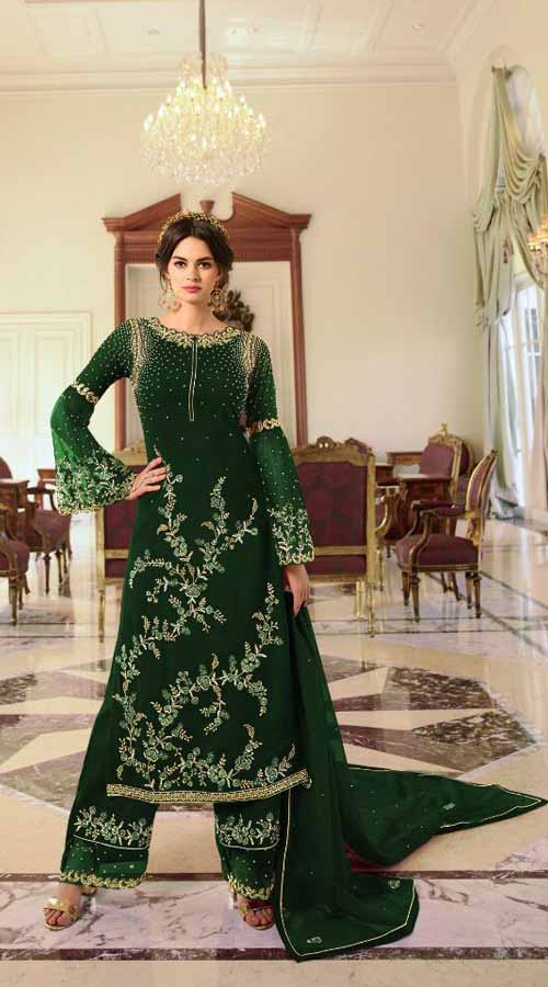 Designer Party Wear Green color Georgette Plazzo Suit ROT9254109630