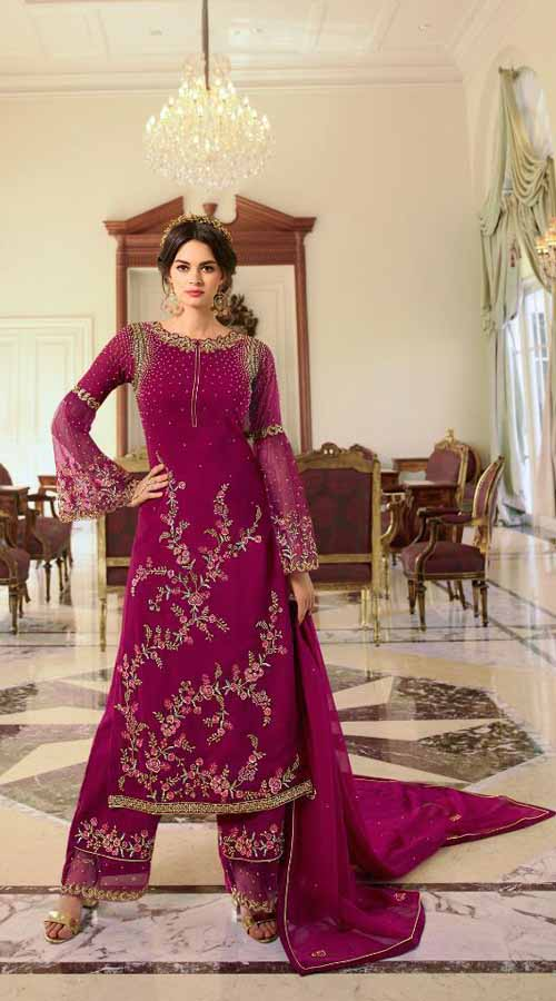 Designer Party Wear Pink color Georgette Plazzo SuitROT9254109631