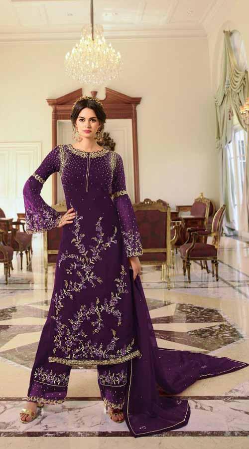 Designer Party Wear Purple color Georgette Plazzo Suit ROT9254109632