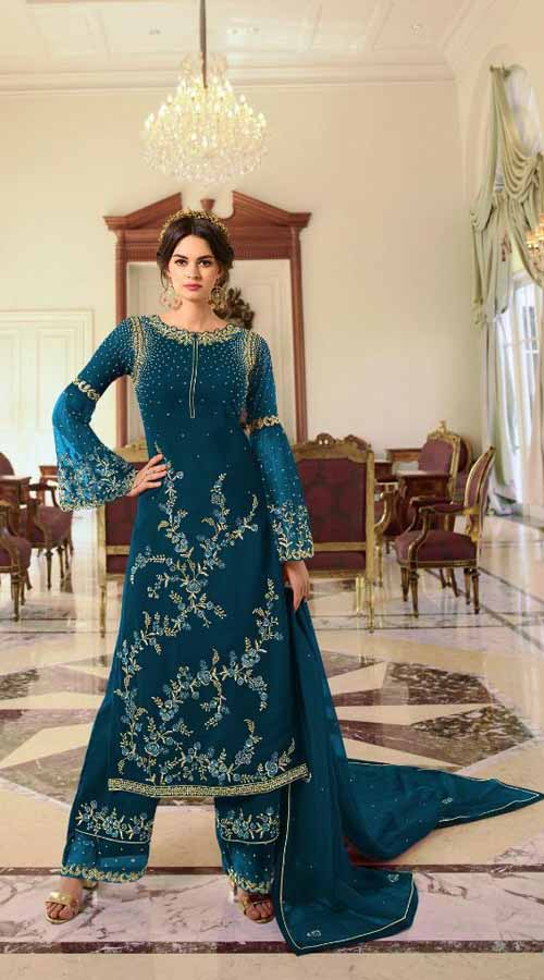 Designer Party Wear Teal Blue color Georgette Plazzo Suit ROT9254109633
