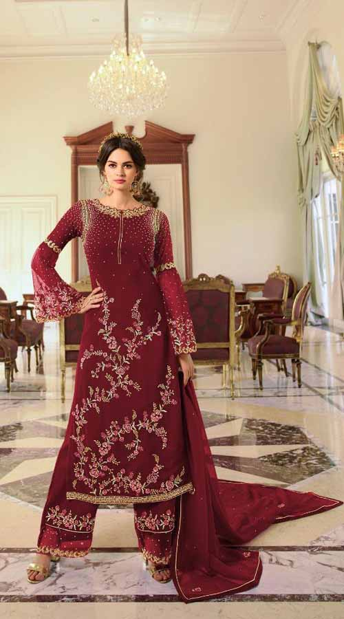 Designer Party Wear Maroon color Georgette Plazzo Suit ROT9254109634