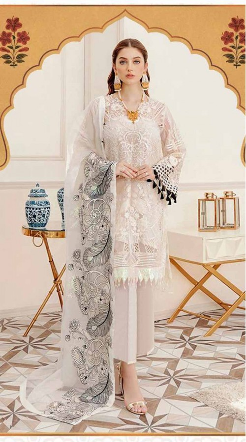 Designer party wear cream Faux Georgette pakistani style suit ROT9255109635