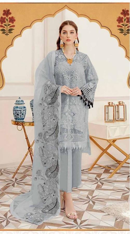 Designer party wear Grey Faux Georgette pakistani style suit ROT9255109636