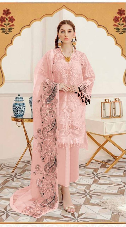 Designer party wear Peach Faux Georgette pakistani style suit ROT9255109637