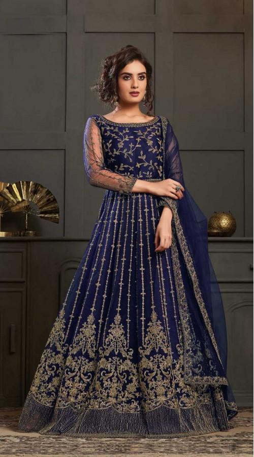 Bridal Designer Party wear Net Suite in Blue color ROT9261109691