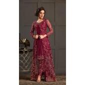 Bridal Designer Party wear Net Suite in Wine color ROT9261109692