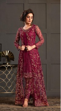 Bridal Designer Party wear Net Suite in Wine color ROT9261109692