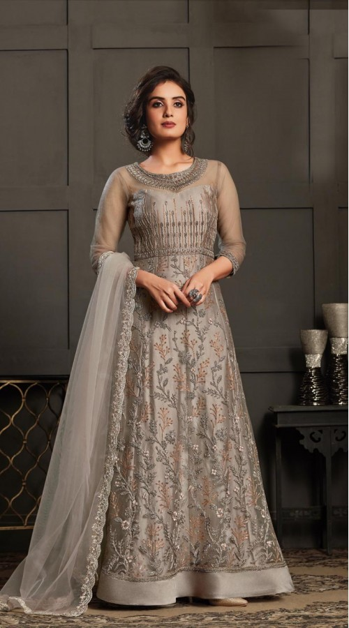 Bridal Designer Party wear Net Suite in Grey color ROT9261109693