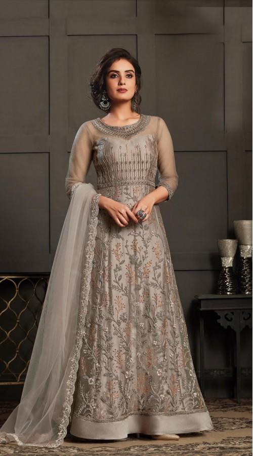 Bridal Designer Party wear Net Suite in Grey color ROT9261109693