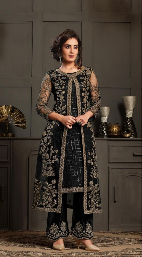 Bridal Designer Party wear Net Suite in Black color ROT9261109694