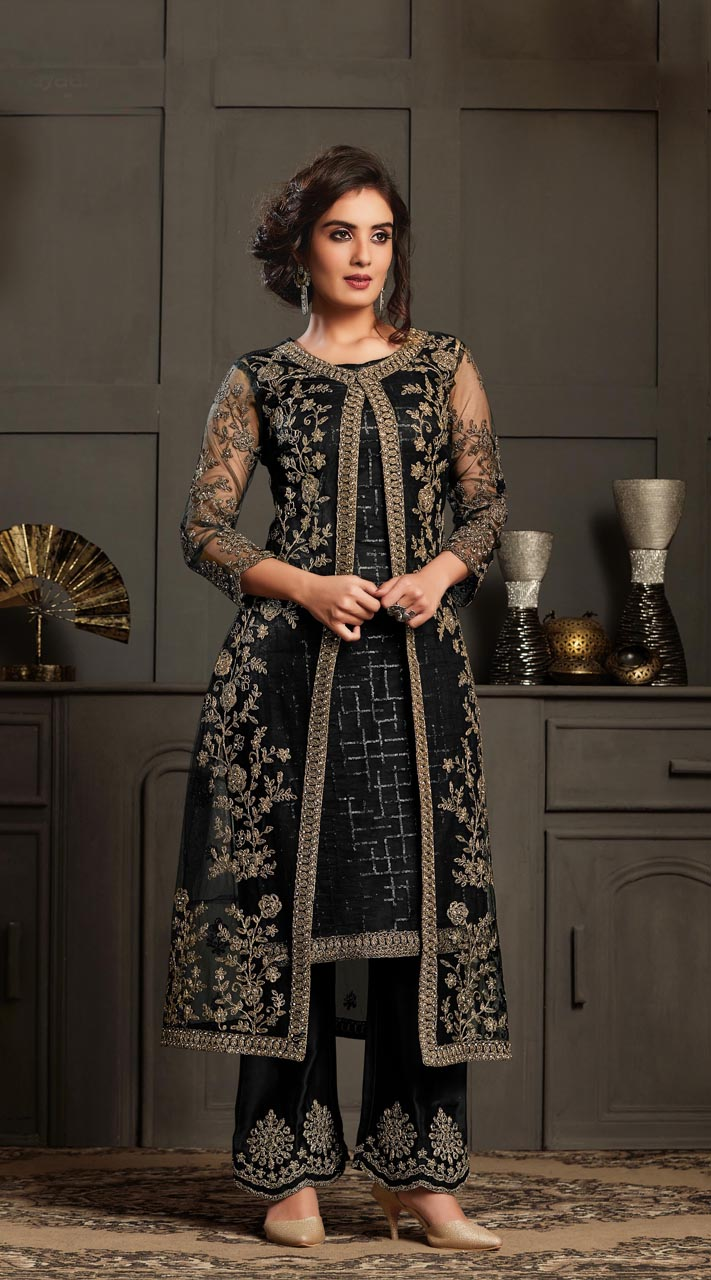 Bridal Designer Party wear Net Suite in Black color ROT9261109694