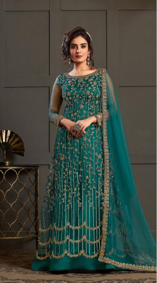 Bridal Designer Party wear Net Suite in Peacock color ROT9261109695
