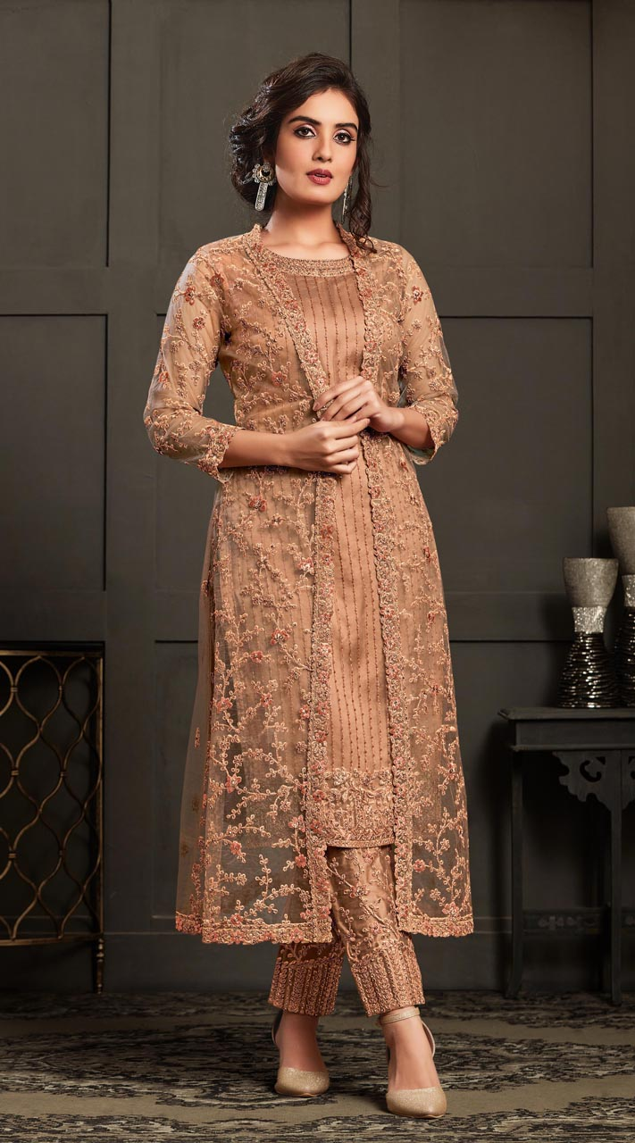 Bridal Designer Party wear Net Suite in Peach color ROT9261109696