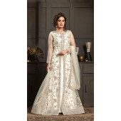 Bridal Designer Party wear Net Suite in Off White color ROT9261109697