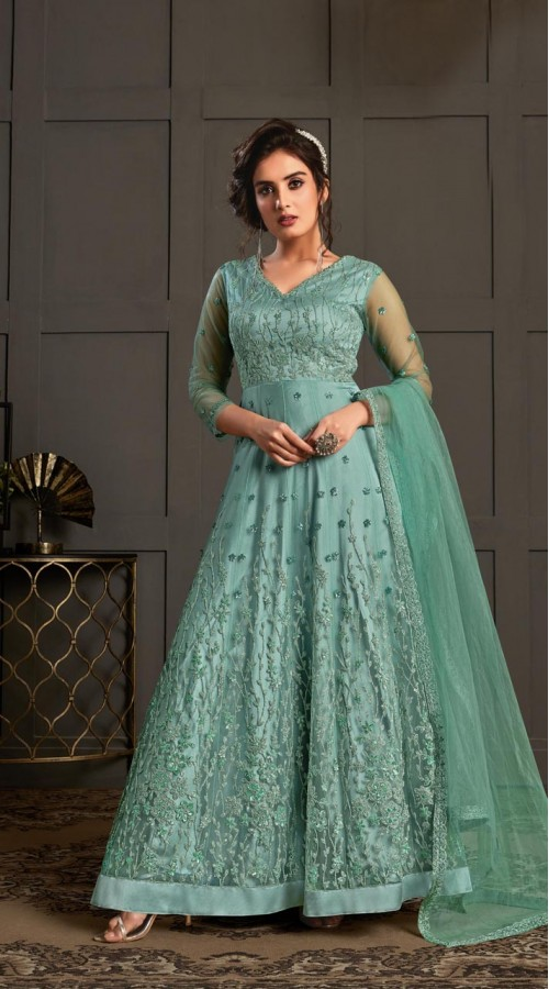 Bridal Designer Party wear Net Suite in Firozi color ROT9261109698