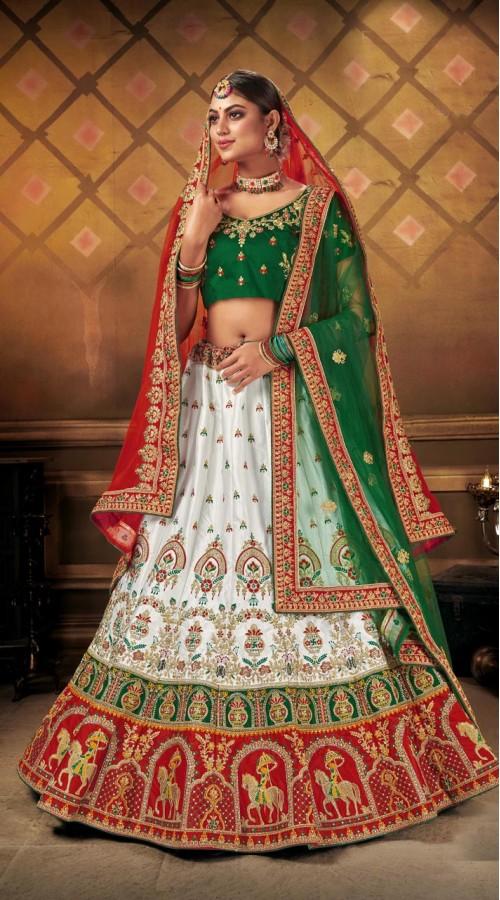 Designer Wedding Wear Heavy Malal Silk Fabric White lehenga ROT9262109699