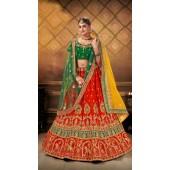 Designer Wedding Wear Heavy Malal Silk Fabric Orange lehenga ROT9262109700