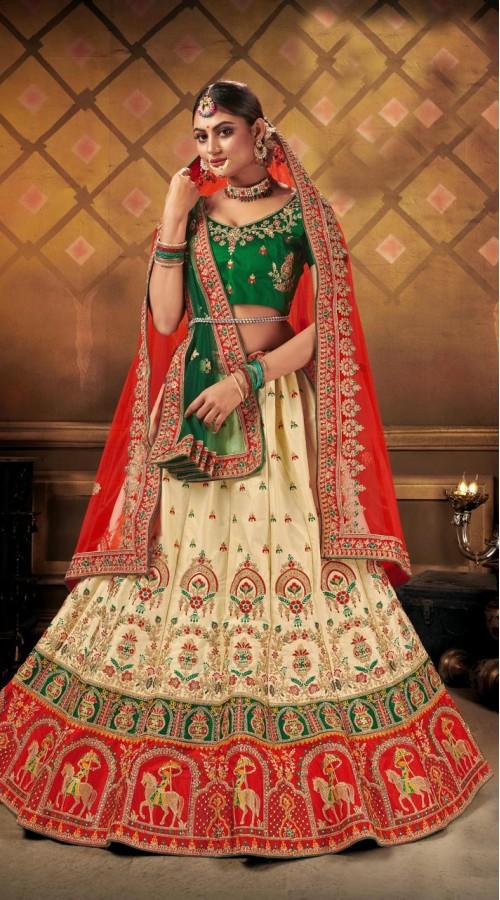 Designer Wedding Wear Heavy Malal Silk Fabric Cream lehenga ROT9262109701