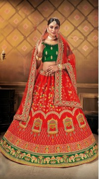 Designer Wedding Wear Heavy Malal Silk Fabric Red lehenga ROT9262109702