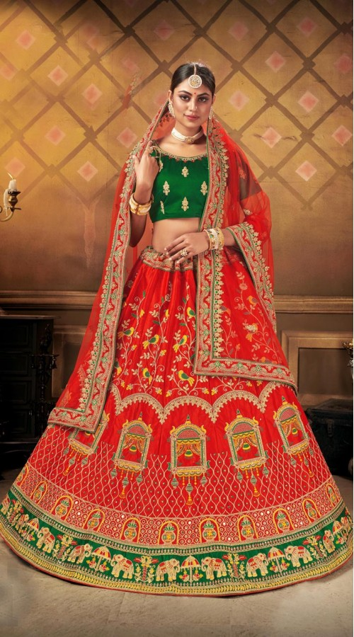 Designer Wedding Wear Heavy Malal Silk Fabric Red lehenga ROT9262109702