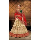 Designer Wedding Wear Heavy Malal Silk Fabric Cream lehenga ROT9262109703