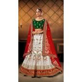 Designer Wedding Wear Heavy Malal Silk Fabric White lehenga ROT9262109704