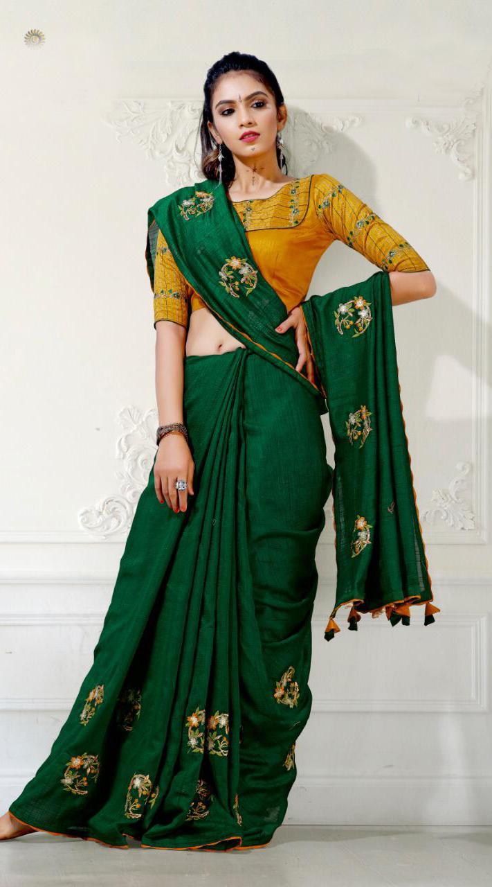 Designer Party Wear Green Saree with blue cherri fabric saree ROT9269109796
