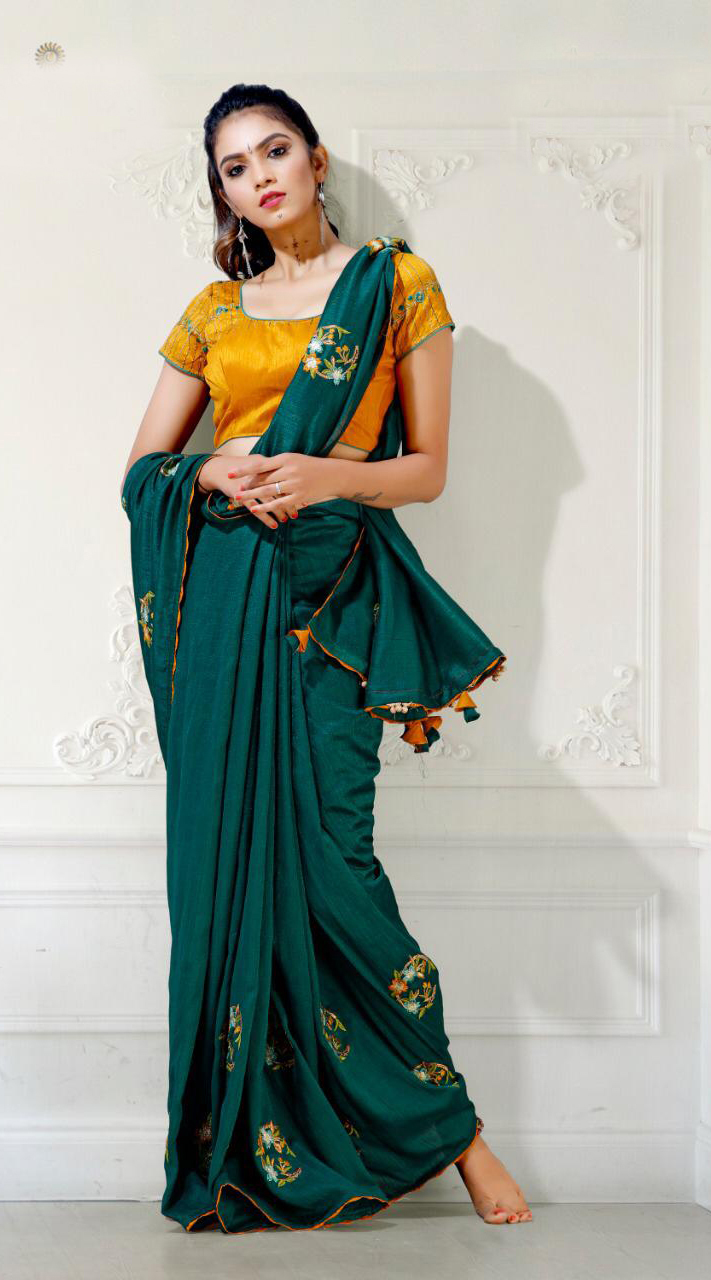Designer Party Wear Rama Green Saree with Blue cherri fabric saree ROT9269109797