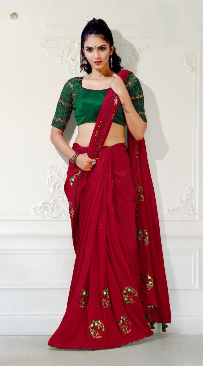 Designer Party Wear Red Saree with blue cherri fabric saree ROT9269109798
