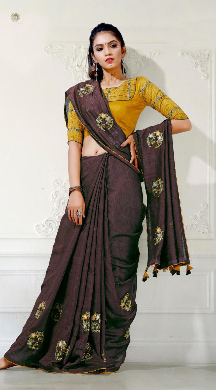 Designer Party Wear Coffee Saree with blue cherri fabric saree ROT9269109799