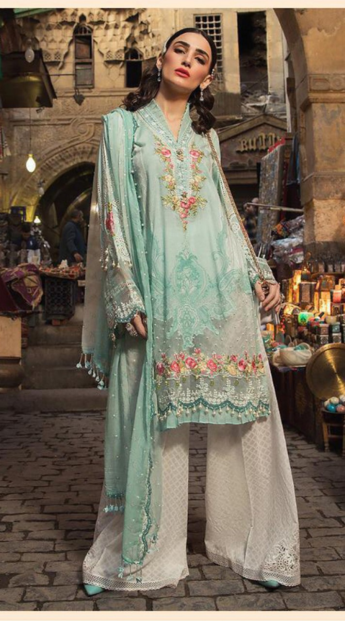 Designer party wear sea Green Pakistani style suit ROT9271109809