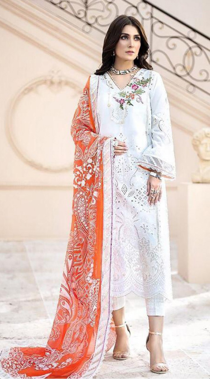 Designer party wear White color Pakistani style suit ROT9271109810