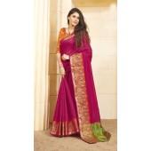 Designer casual wear cotton pink saree ROT9283109898